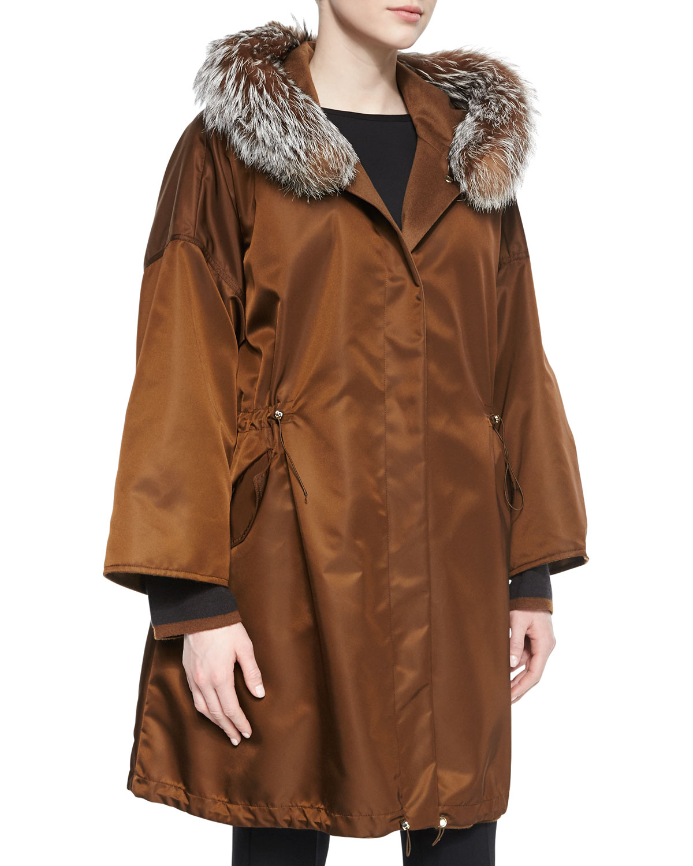 aaa483a02 Max Mara Brown Fur-Trimmed Hooded Rain Parka