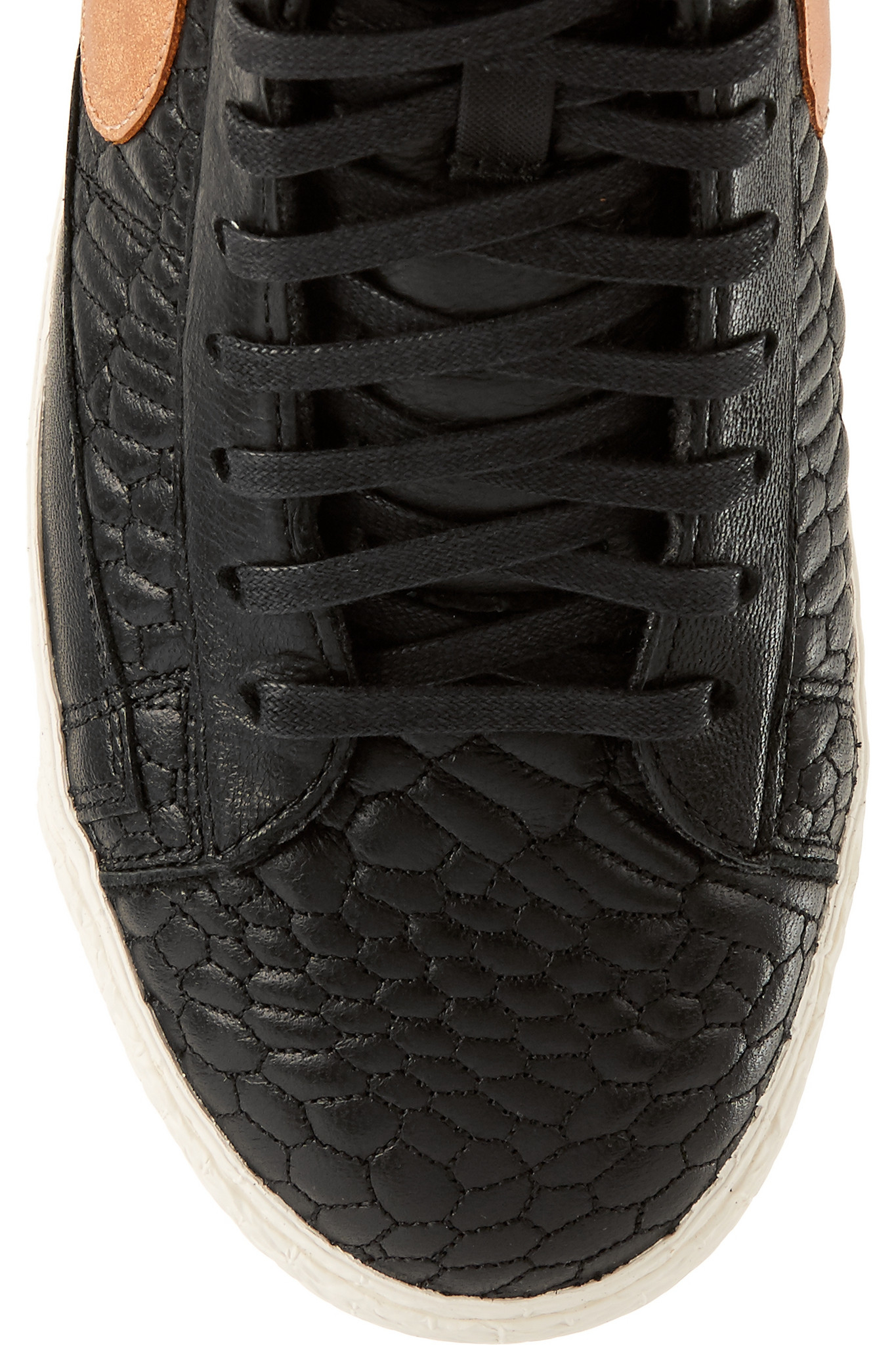 Nike - Blazer Croc-effect Leather High-top Sneakers - Black