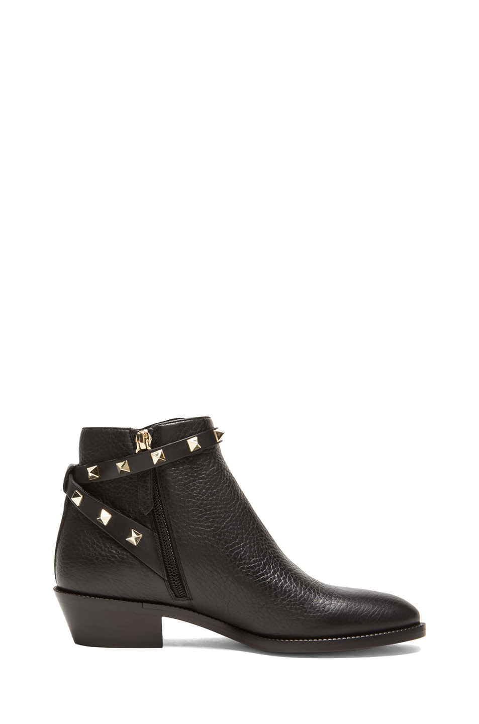 Valentino Rockstud Leather Ankle Boots T 35 In Black Lyst