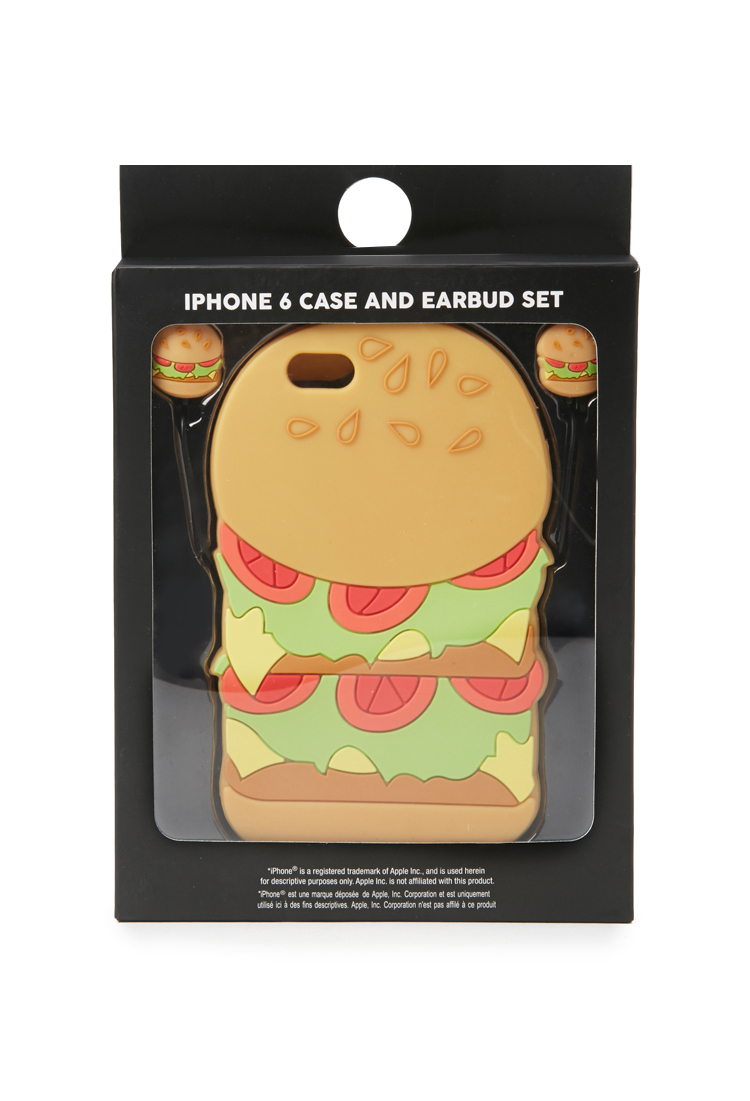 buy online 63b3a a6ce0 Forever 21 Yellow Burger Case For Iphone 6 And Earbud Set