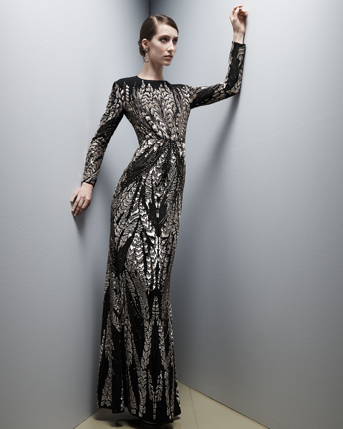 Lyst - Jenny Packham Long-sleeve Bead-embroidered Gown in Black