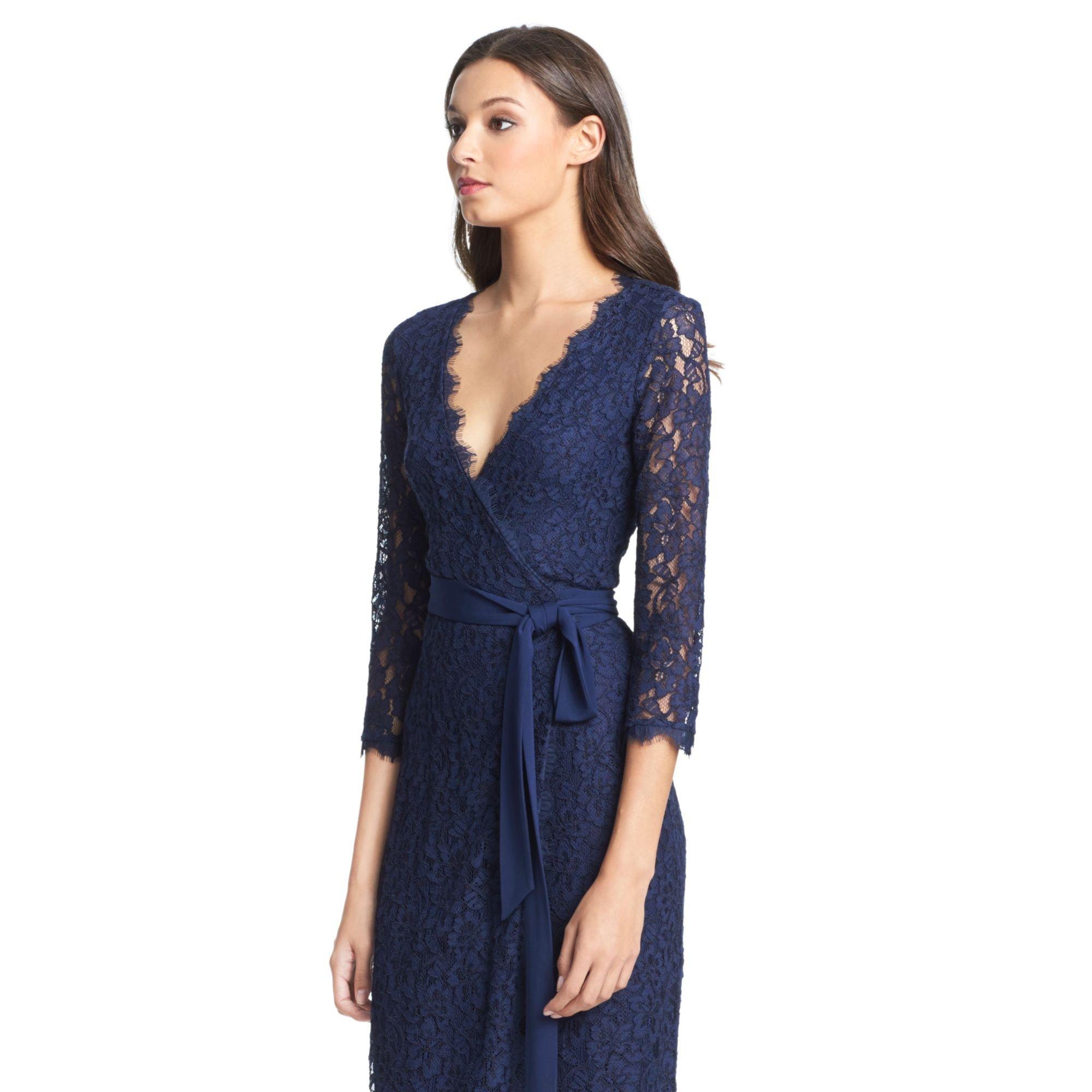 63da06d1a4d51 Diane von Furstenberg Dvf Julianna Lace Wrap Dress in Blue - Lyst