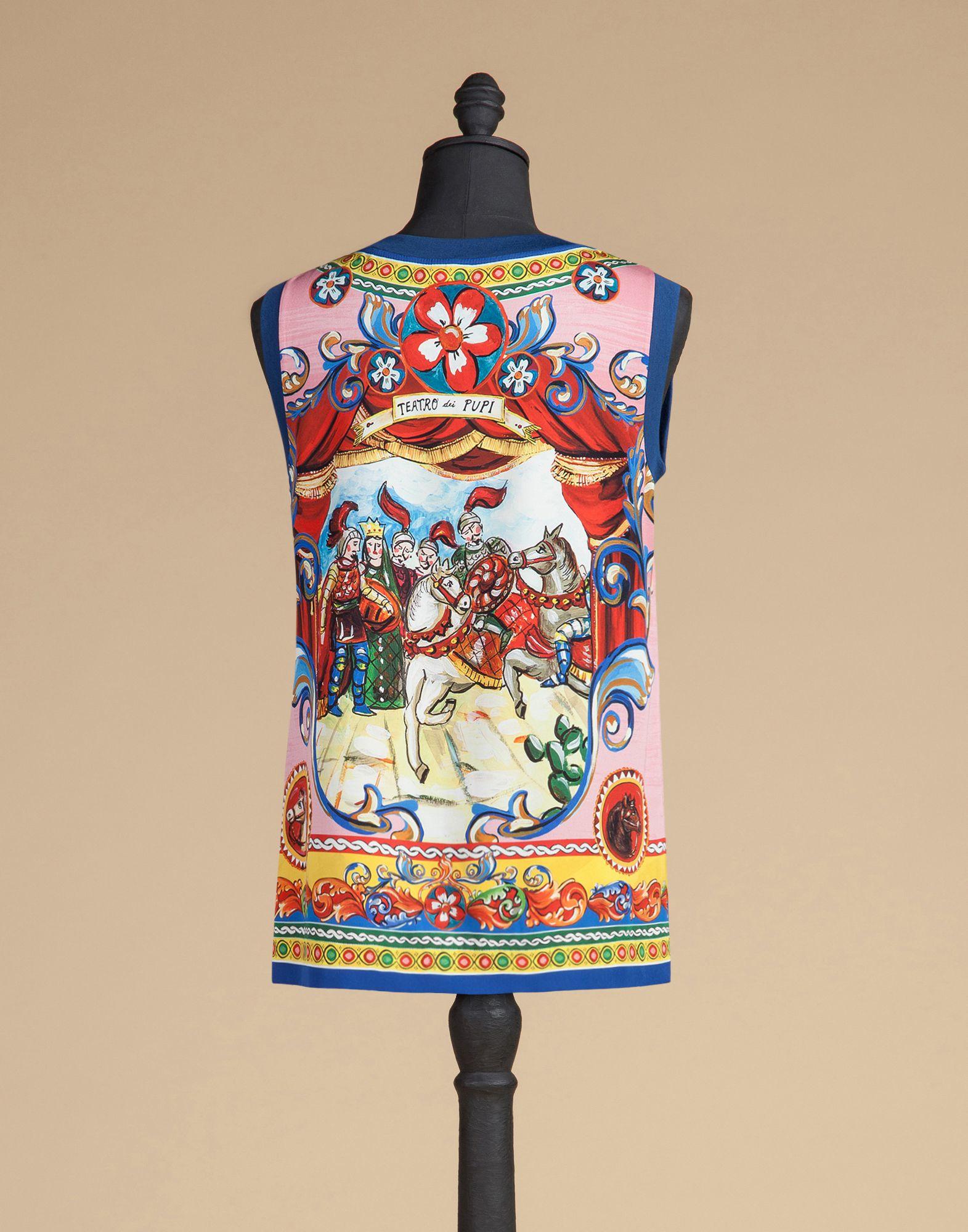 Dolce & Gabbana Sleeveless Top In Printed Silk in Pink