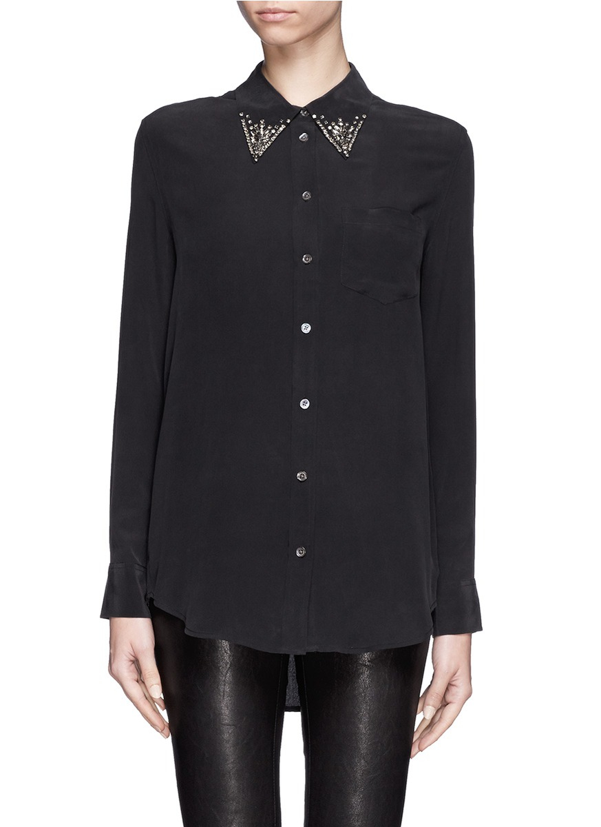 lyst equipment 39 reese 39 jewel collar silk shirt in black