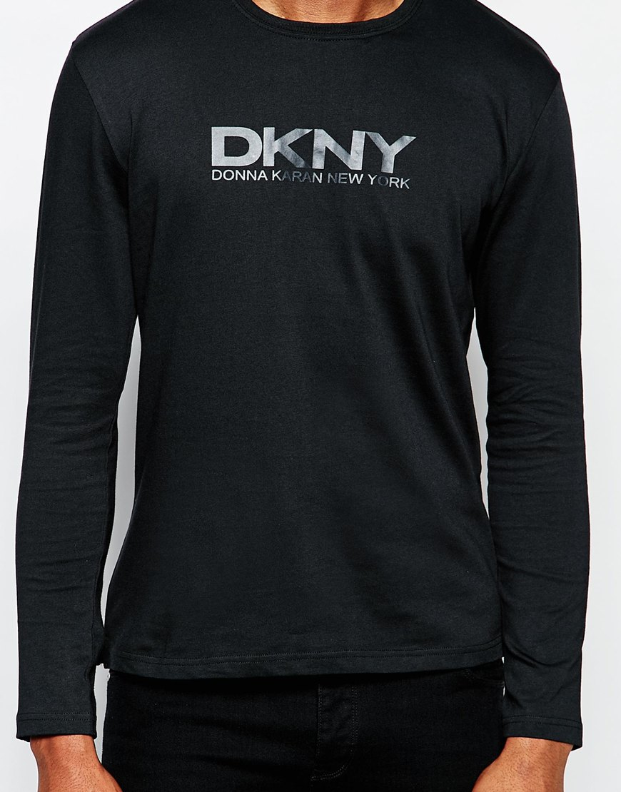 Lyst Dkny Crew Long Sleeve Rubber Print T Shirt In Black For Men