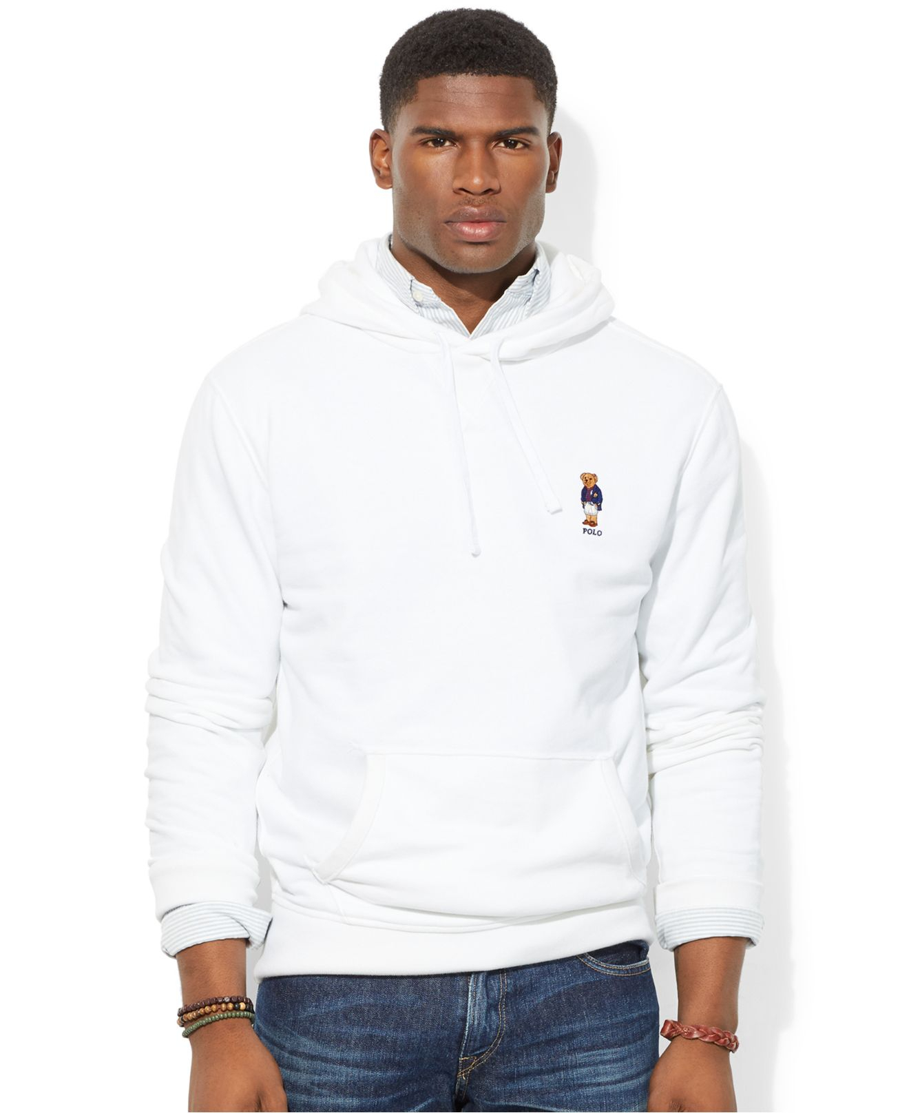 polo ralph lauren bear fleece hoodie collegiate polo bear in white for men lyst. Black Bedroom Furniture Sets. Home Design Ideas