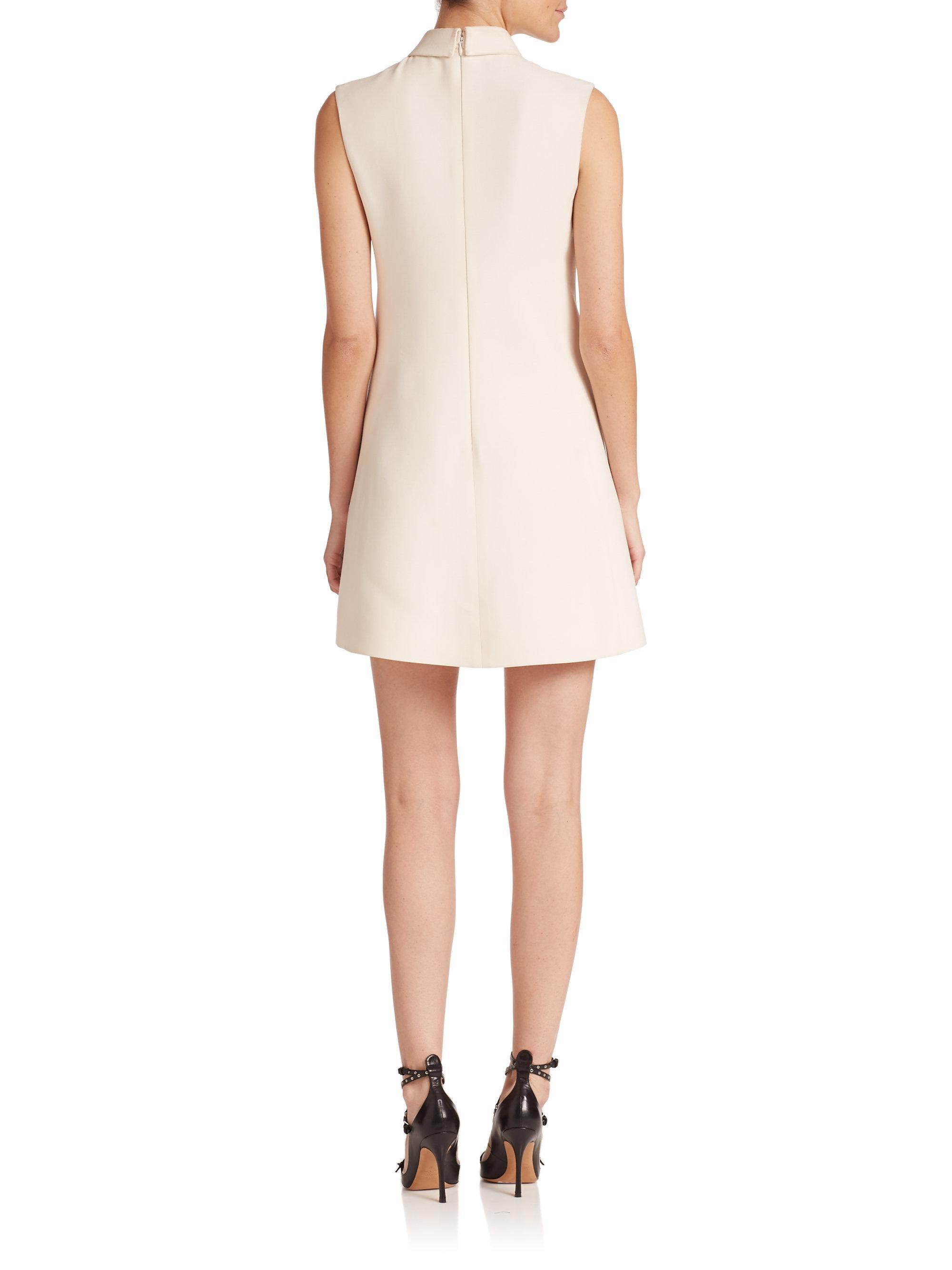 valentino signature wool silk shift dress in white lyst