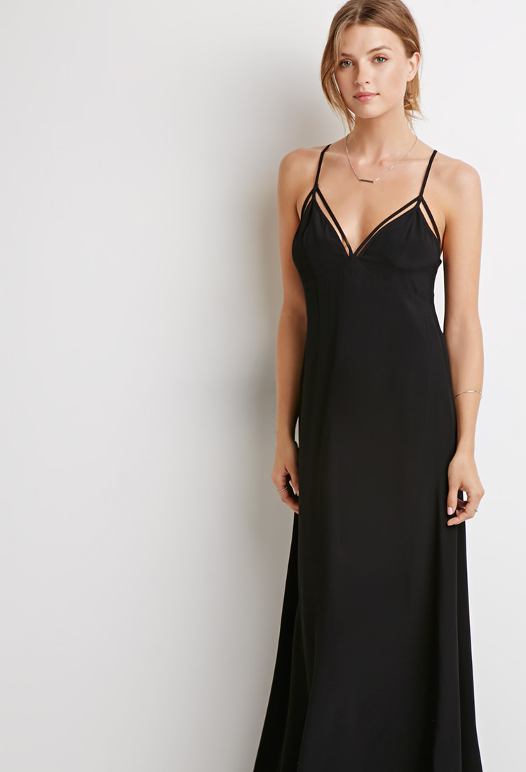 Forever 21 Synthetic Strappy Maxi Dress In Black Lyst
