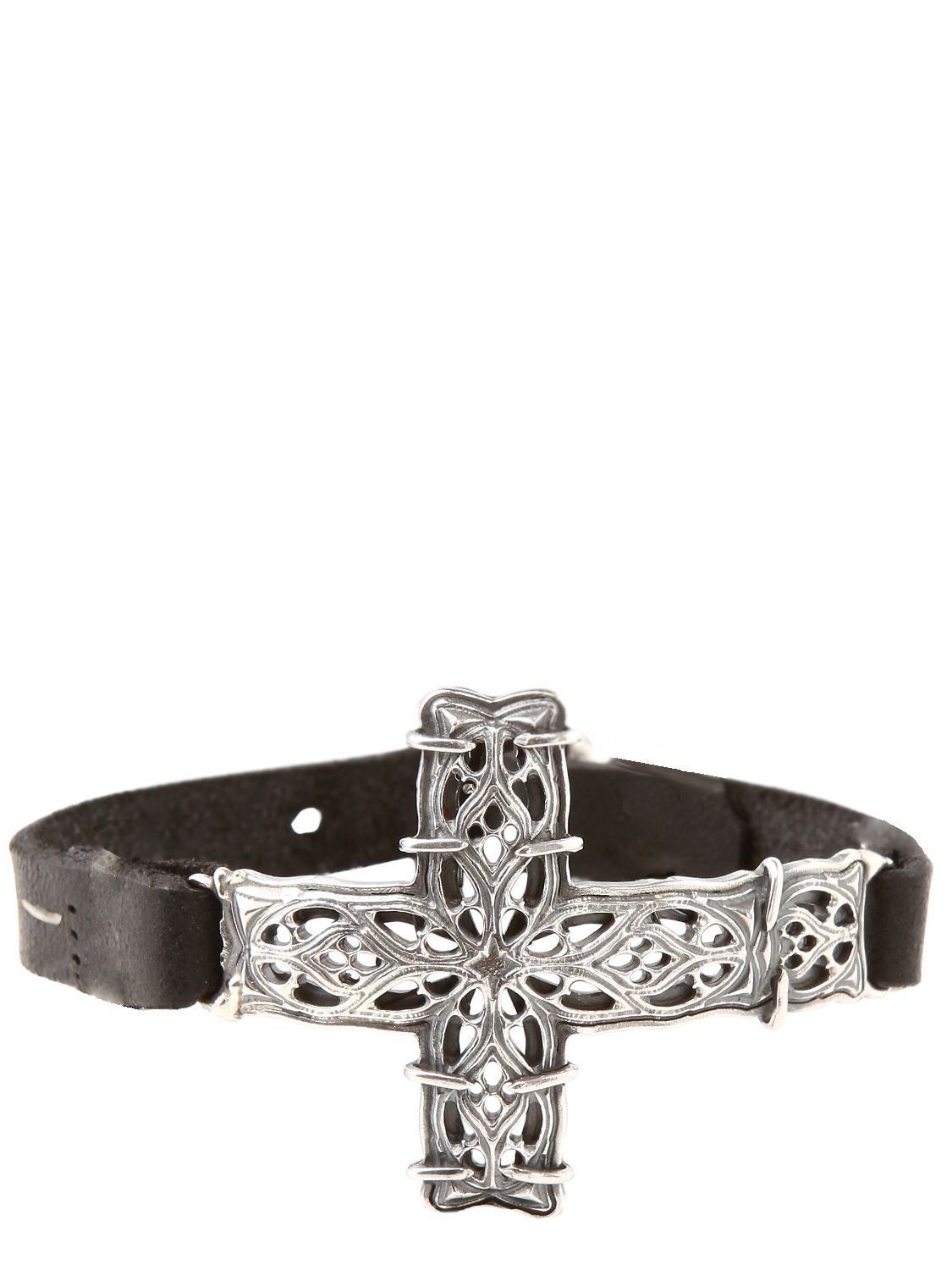 Emanuele Bicocchi Silver Cross Leather Bracelet In