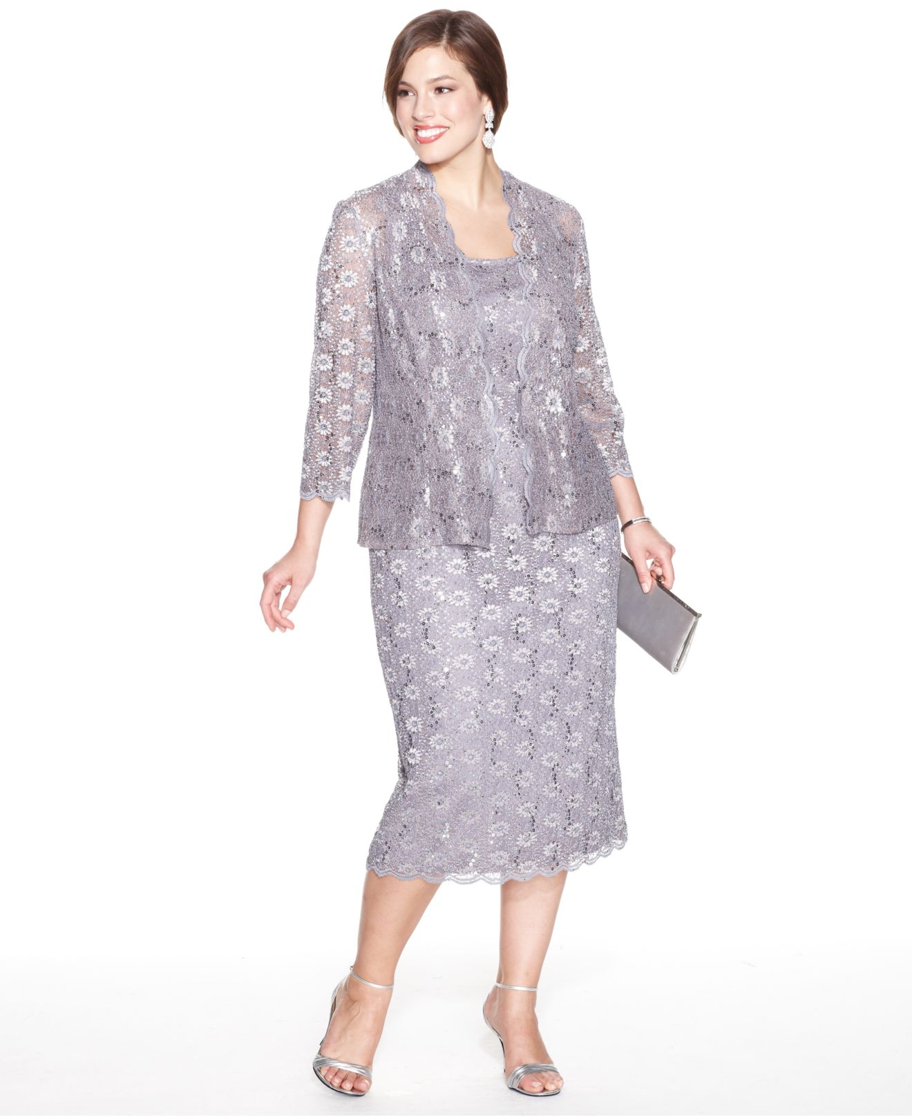 290ff8237a076 Alex Evenings Plus Size Sequin Lace Dress And Jacket in Metallic - Lyst