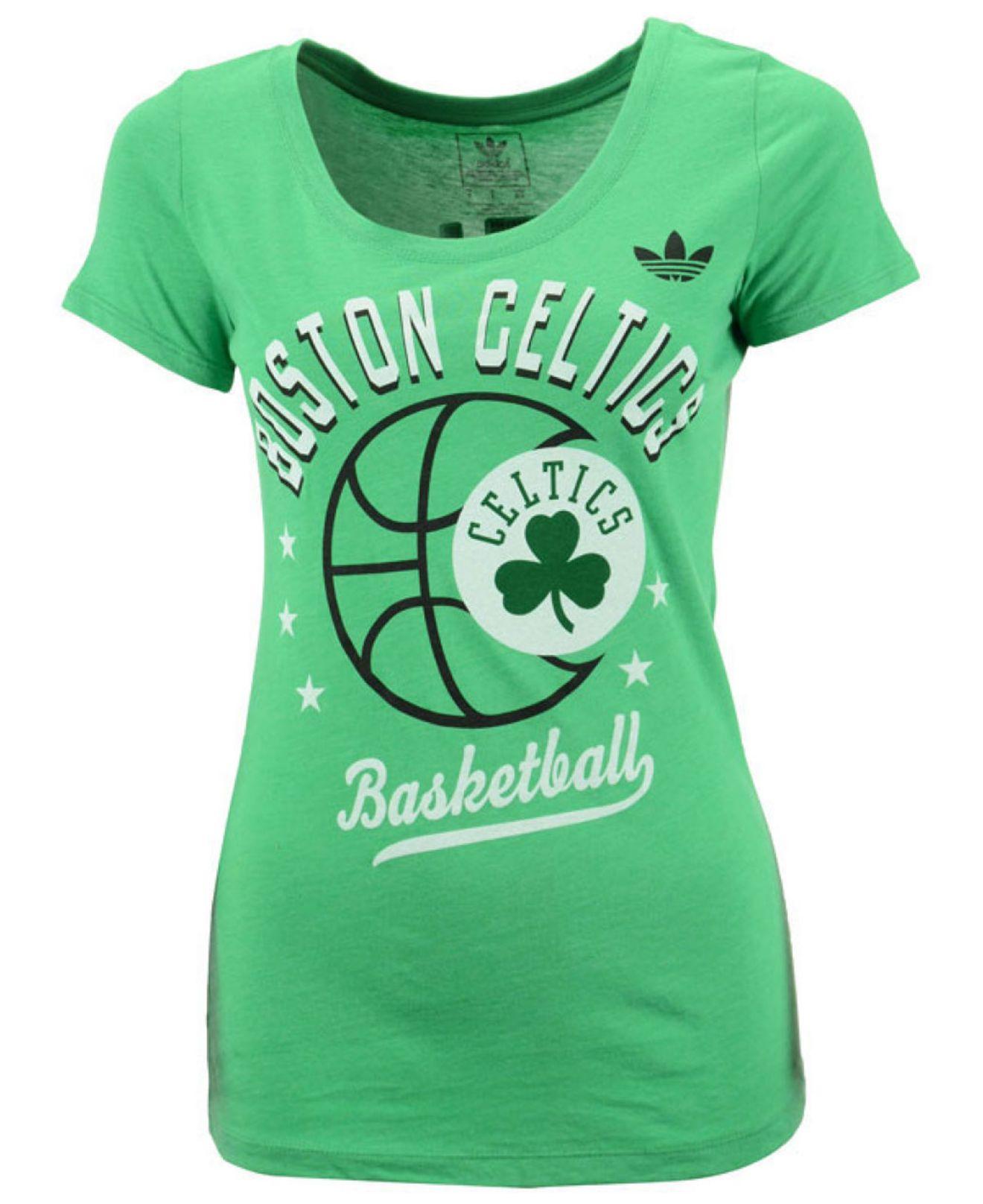 lyst adidas women 39 s boston celtics basketball scoop t