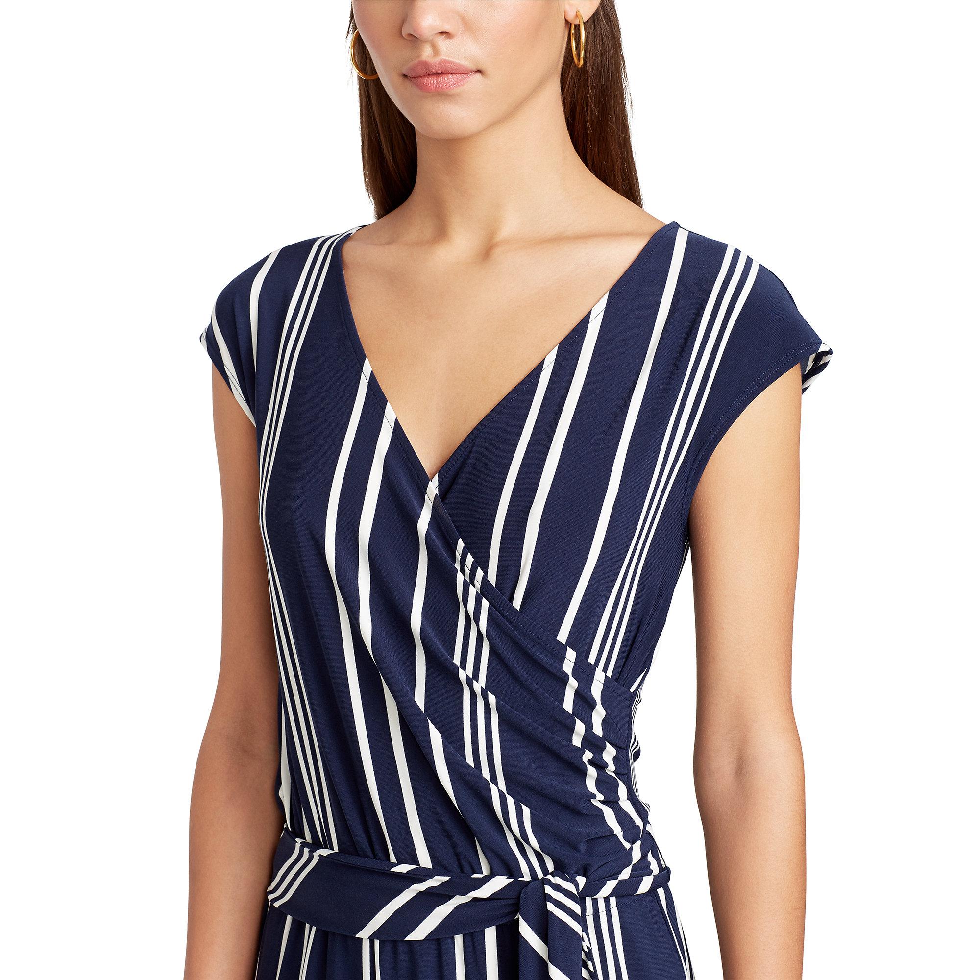 4ade9adaf034 Lyst - Ralph Lauren Striped Surplice Jumpsuit in Blue