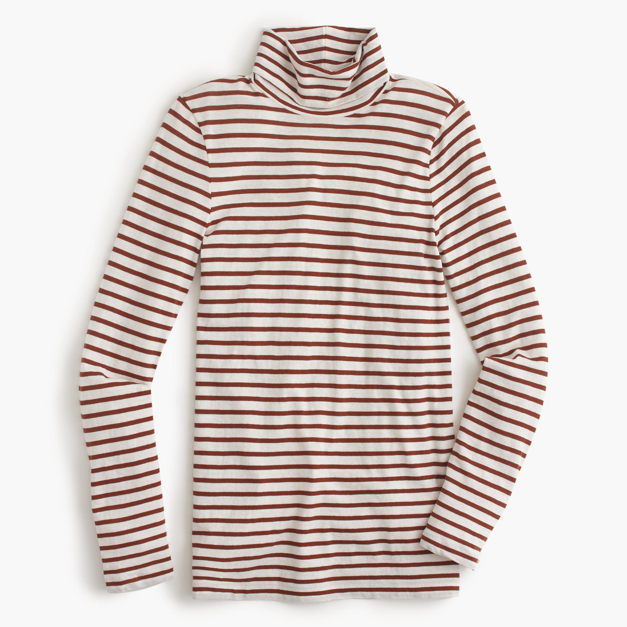 J Crew Striped Tissue Turtleneck T Shirt In Red Lyst