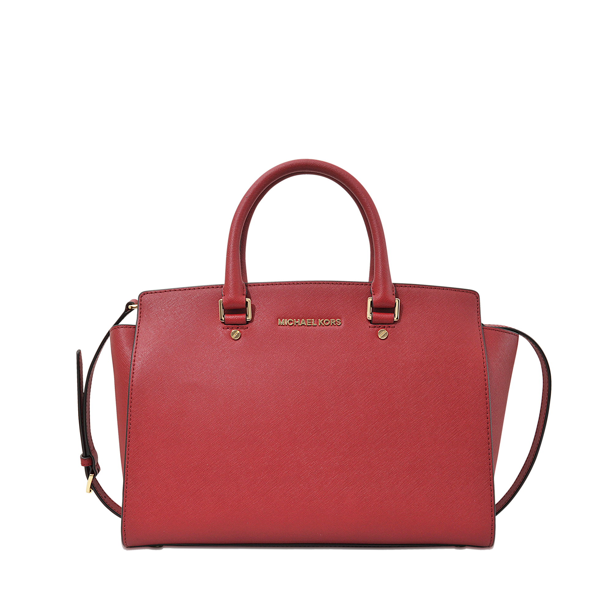 michael michael kors selma lg tz satchel in red lyst