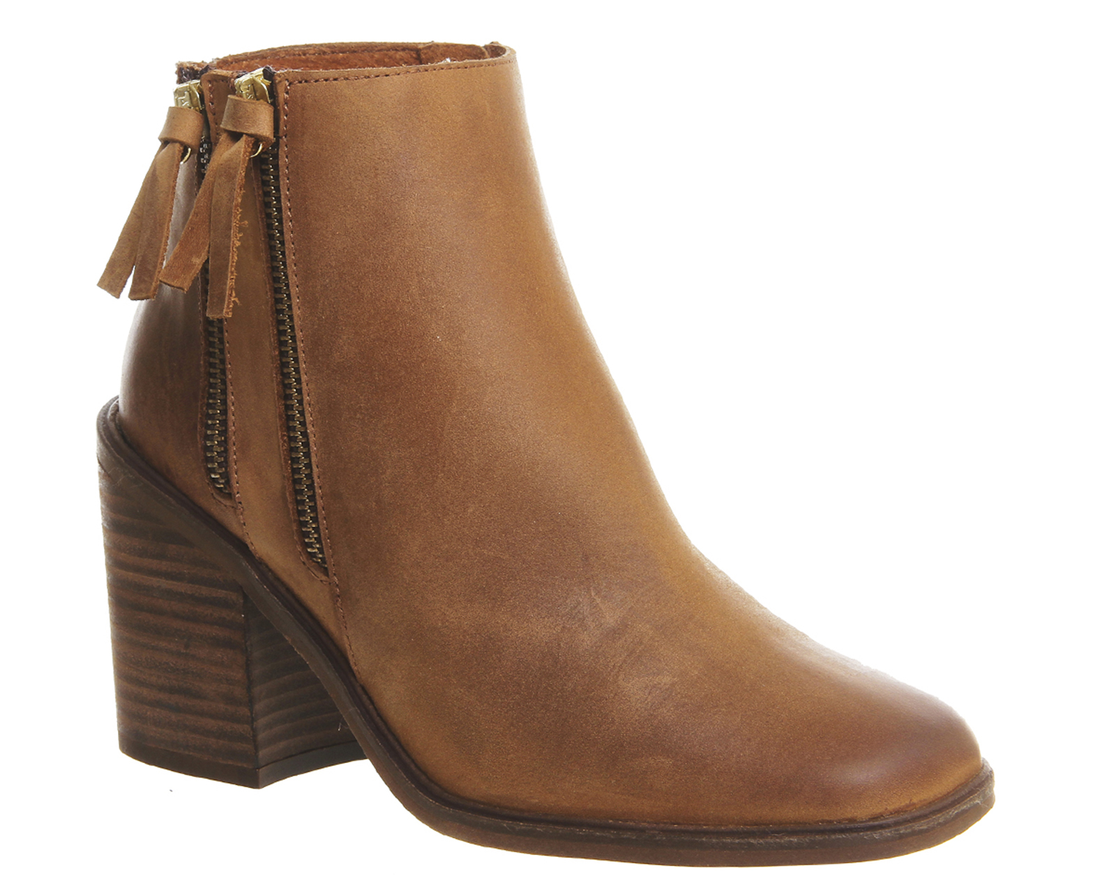 office influence zip boots in brown lyst