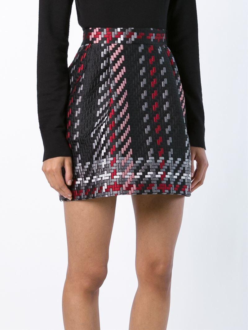 4eb3383a7fa3 P.a.r.o.s.h. Brocade Short Skirt in Black