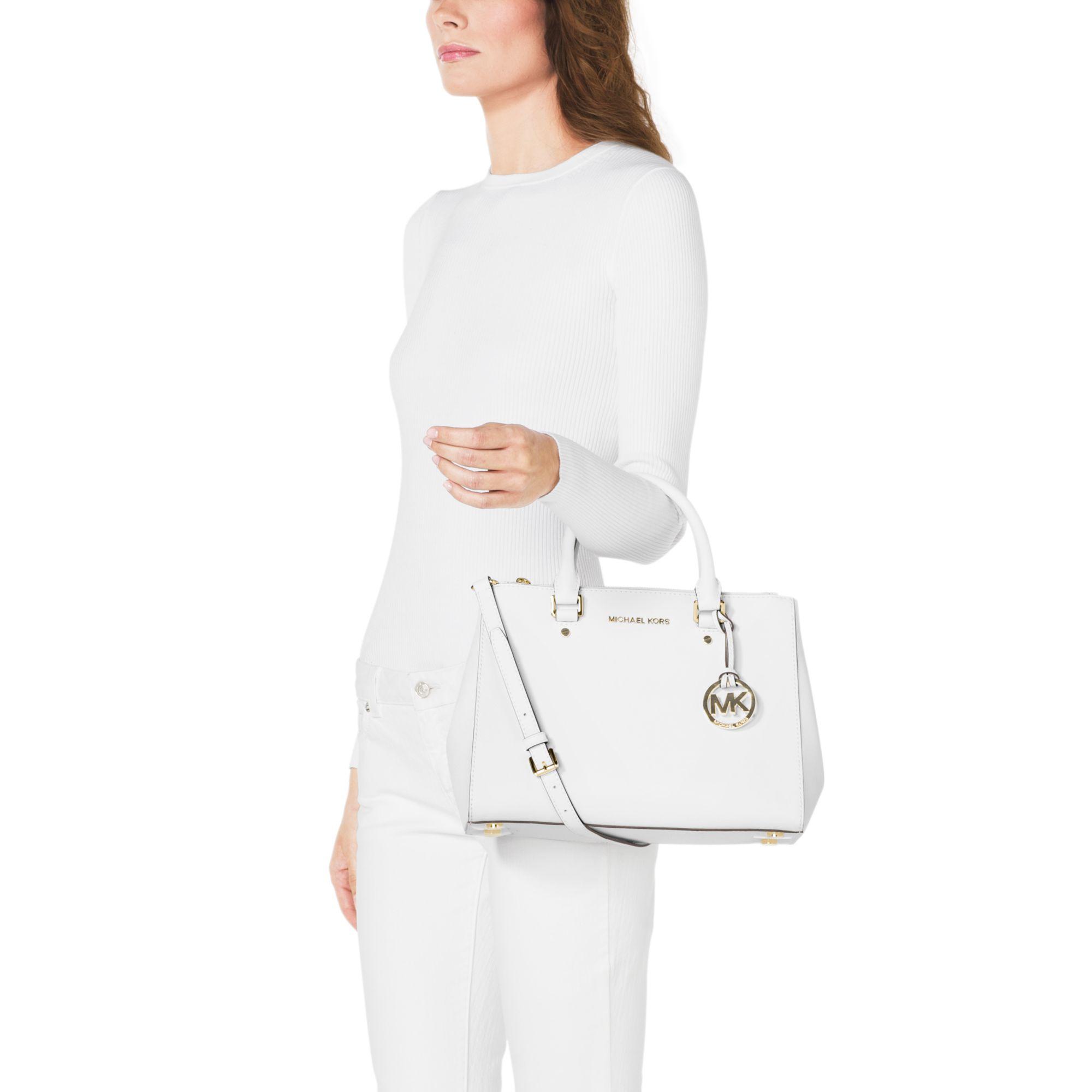 83106f13bfb18c Michael Kors Sutton Medium Saffiano Leather Satchel in White - Lyst