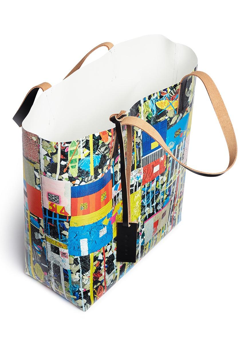 Marni Leather Roger Mello Print Shopping Tote