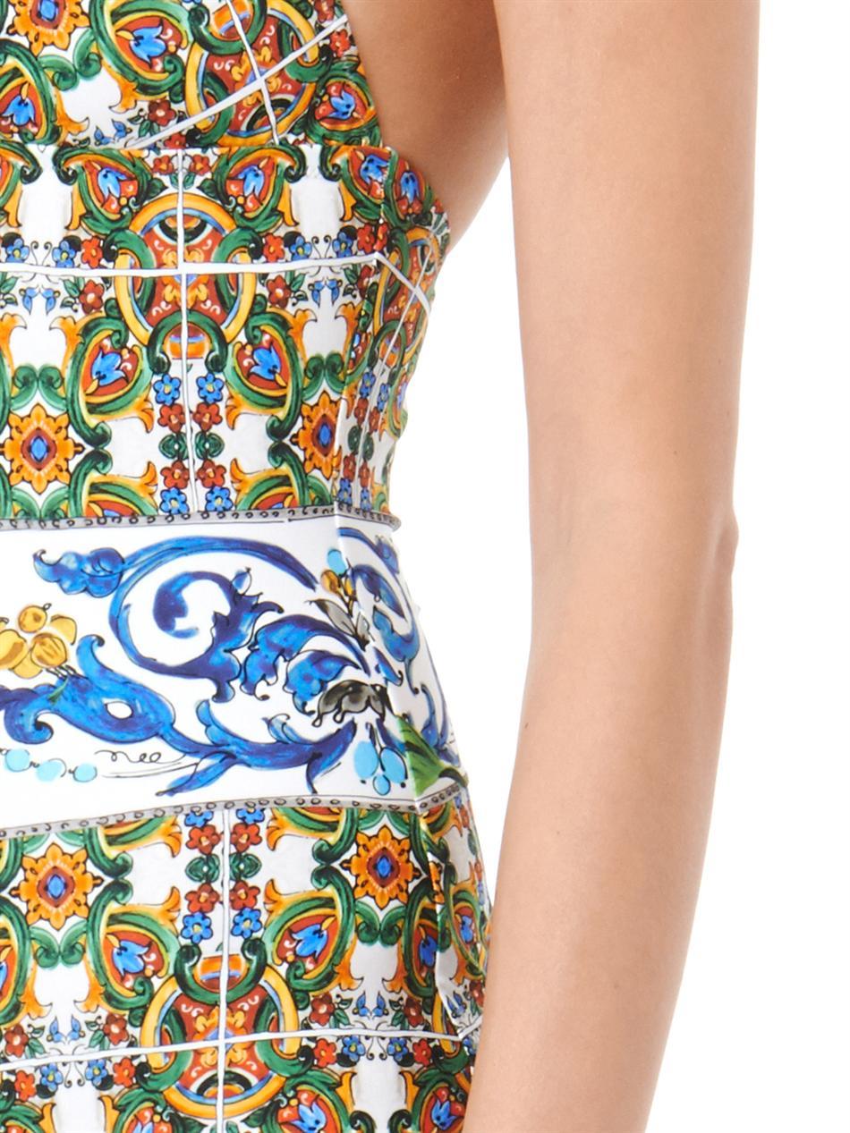 6b37ce6f9d1b48 Dolce & Gabbana Maiolica-Print Swimsuit in Blue - Lyst