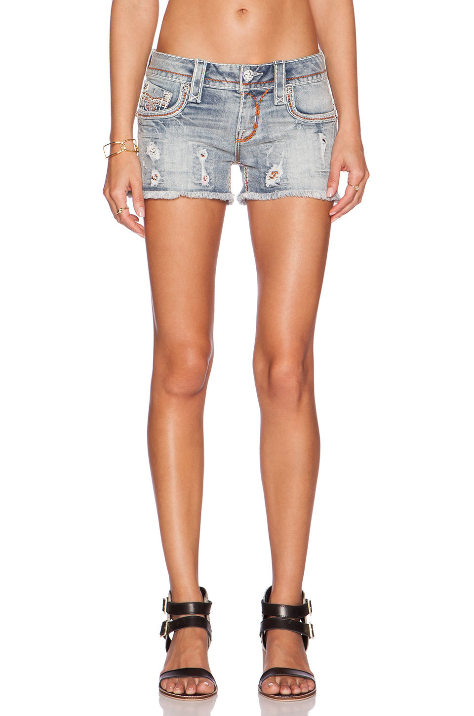 Lyst - Rock Revival Amra Shorts in Blue