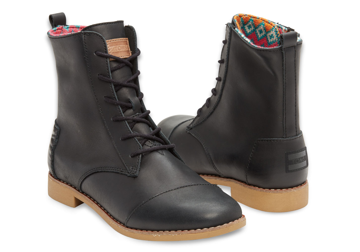 toms black leather s alpa boots in black lyst