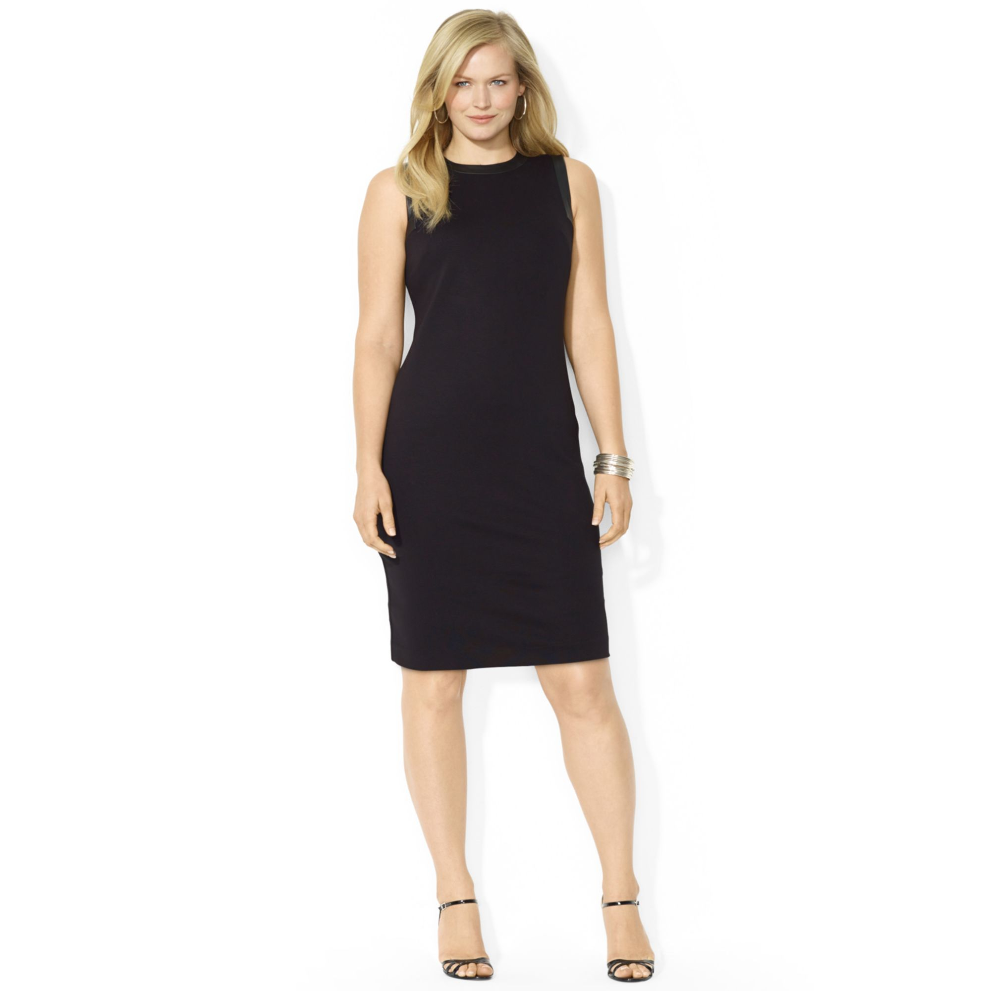 Lauren By Ralph Lauren Plus Size Sleeveless Crewneck Dress