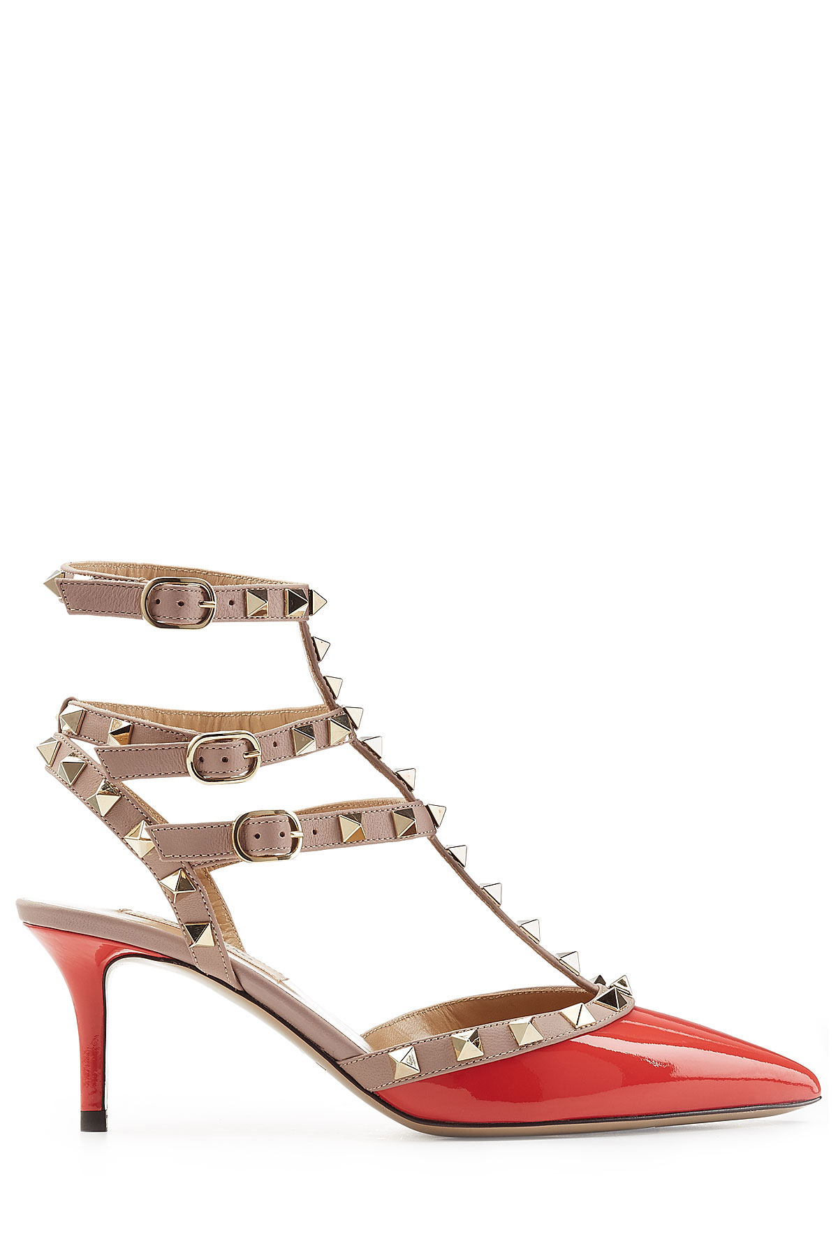 valentino rockstud patent leather kitten heel pumps red in red lyst. Black Bedroom Furniture Sets. Home Design Ideas