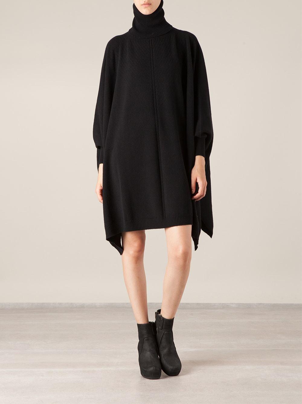Lamberto losani Oversized Sweater Dress in Black | Lyst