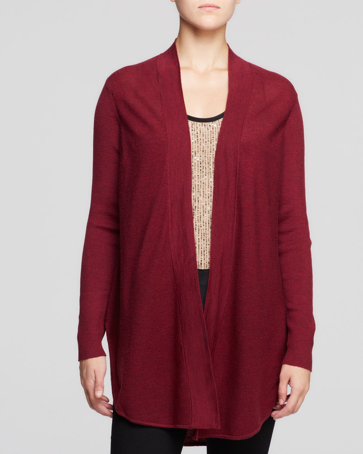Eileen fisher Merino Wool Long Cardigan in Red | Lyst
