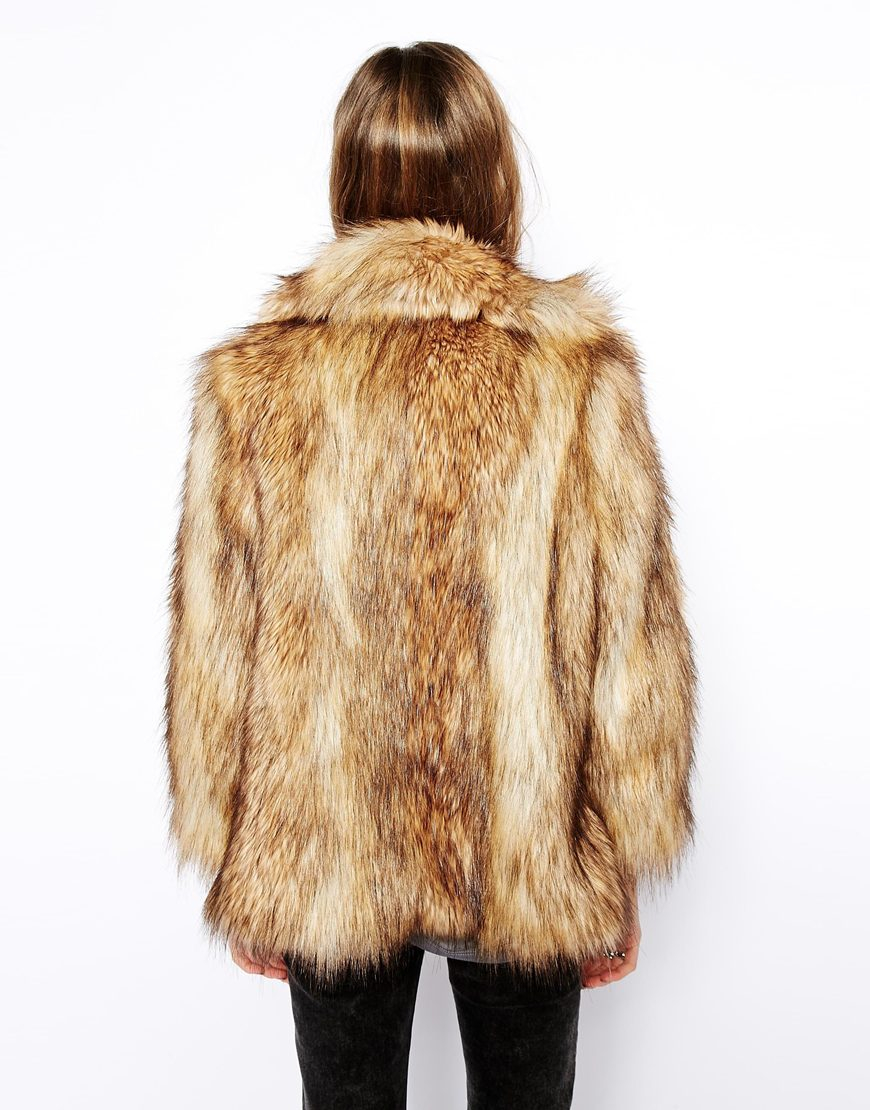 Lyst Asos Vintage Faux Fur Coat In Red