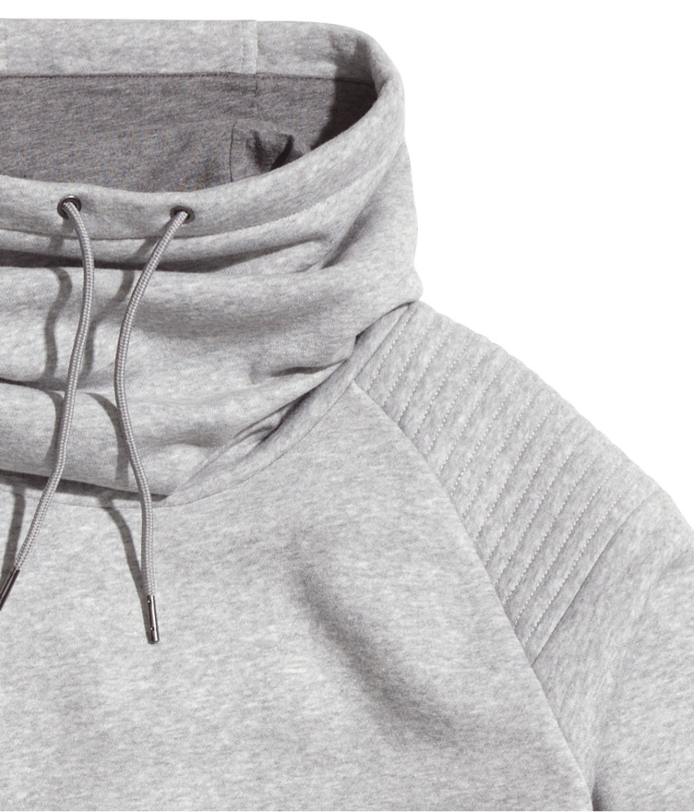 H Amp M Sweatshirt With Funnel Collar In Gray For Men Lyst
