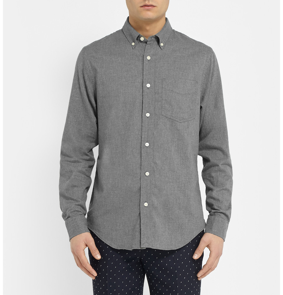 Club monaco slim fit cotton flannel shirt in gray for men for Mens slim fit flannel shirt