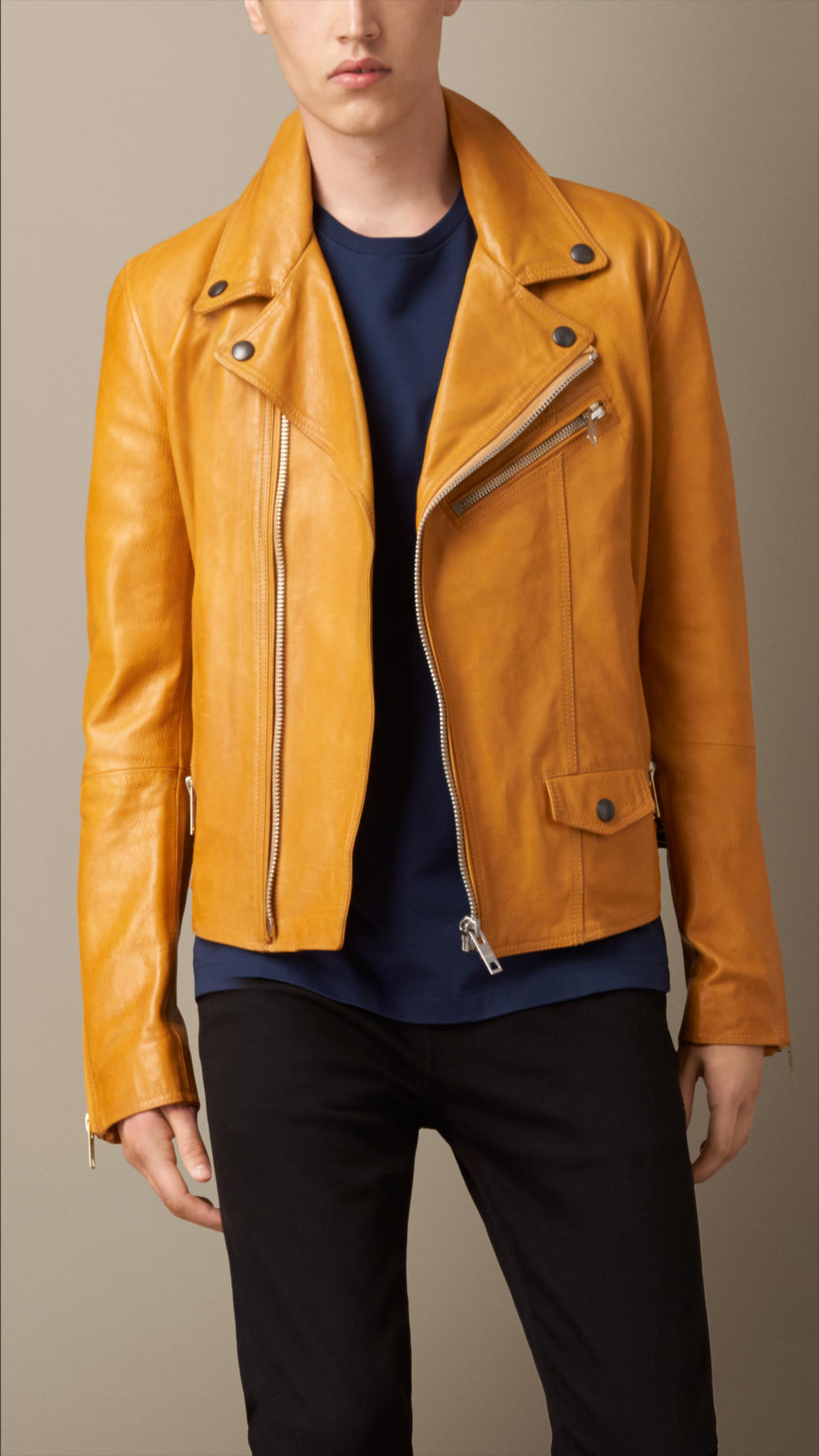 a319917c0 Burberry Yellow Leather Biker Jacket for men