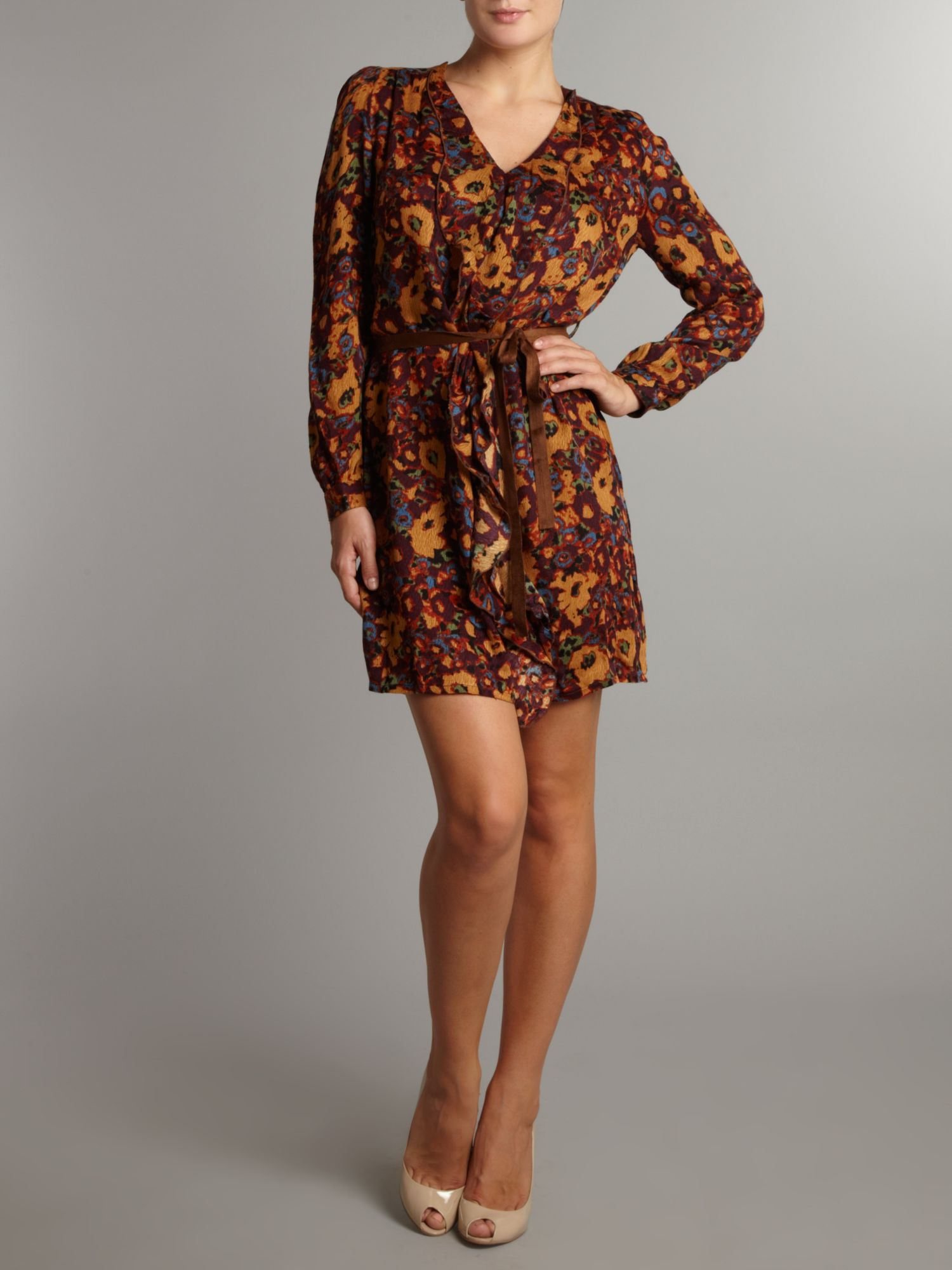 Almost Famous Floral Print Ruffle Dress in Brown