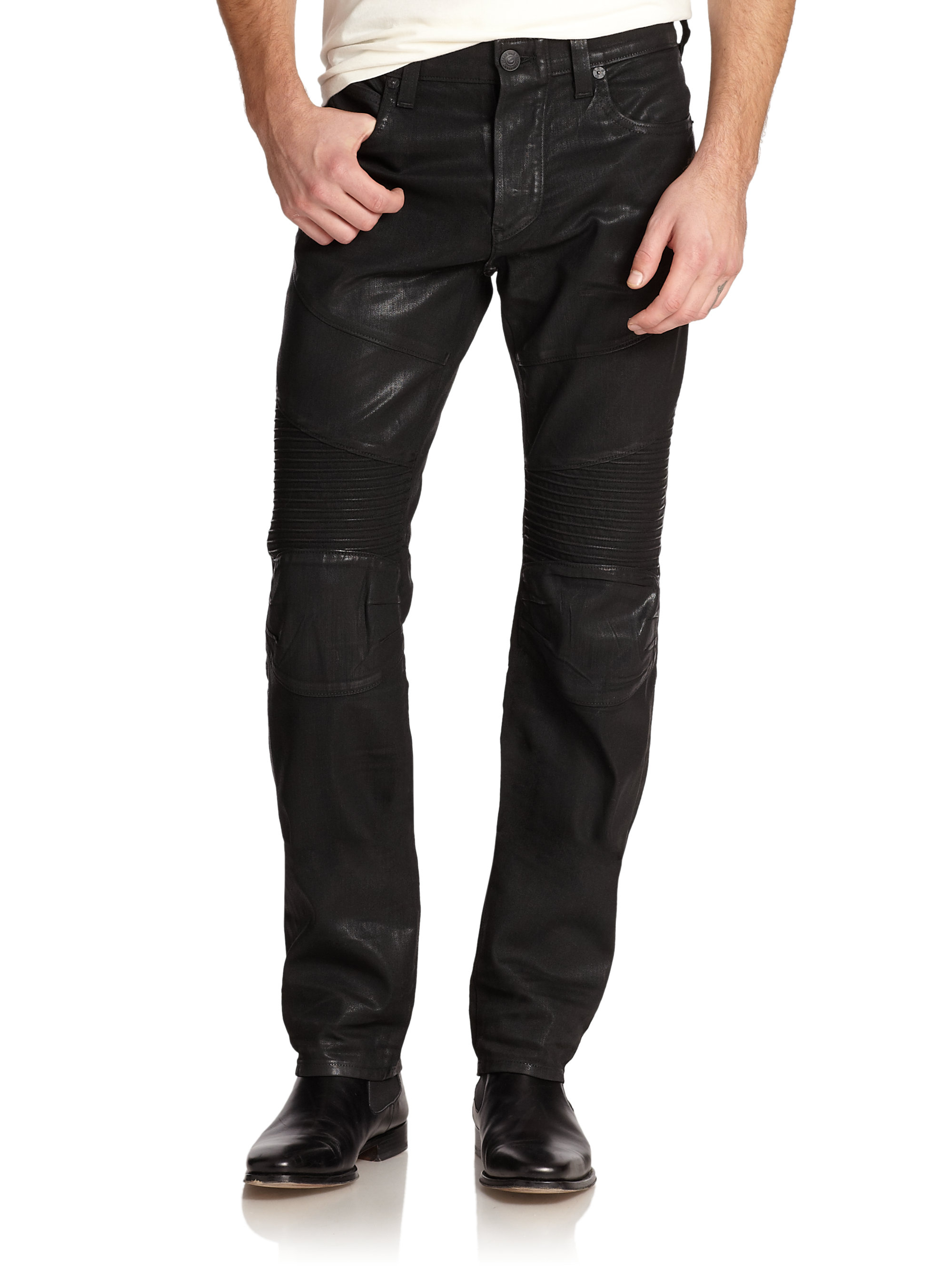 Lyst - True religion Rocco Coated Moto Jeans in Black for Men