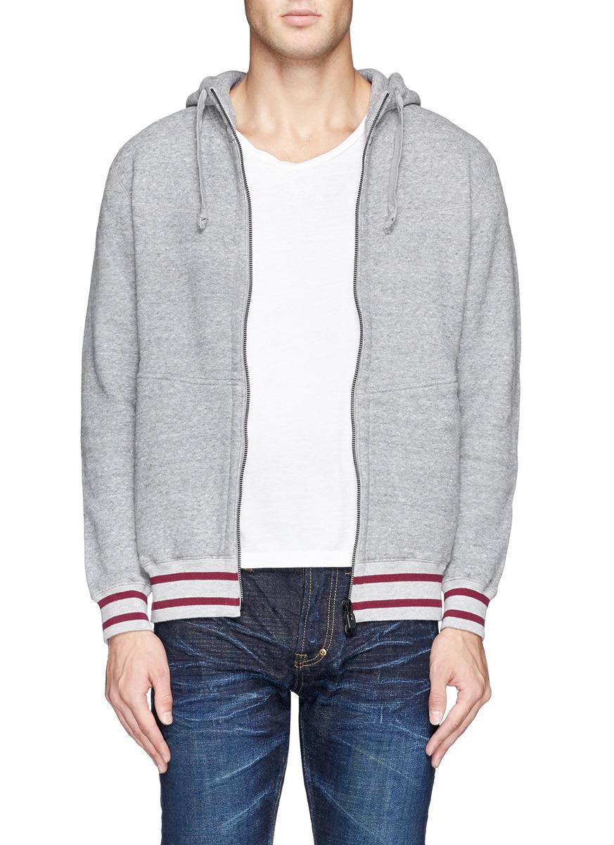 White Mountaineering Fleece Lining Zip Up Hoodie in Grey (Grey) for Men
