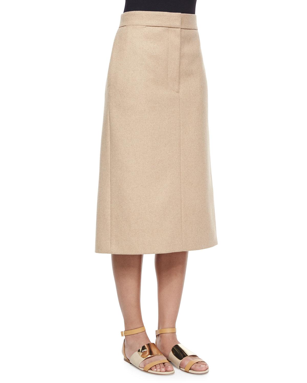 the row twill melton slit midi skirt in brown lyst