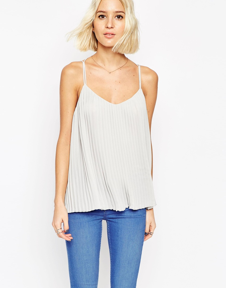 3880d9df69629 Lyst - ASOS Plunge Neck Pleated Cami Top With Strappy Back in Gray