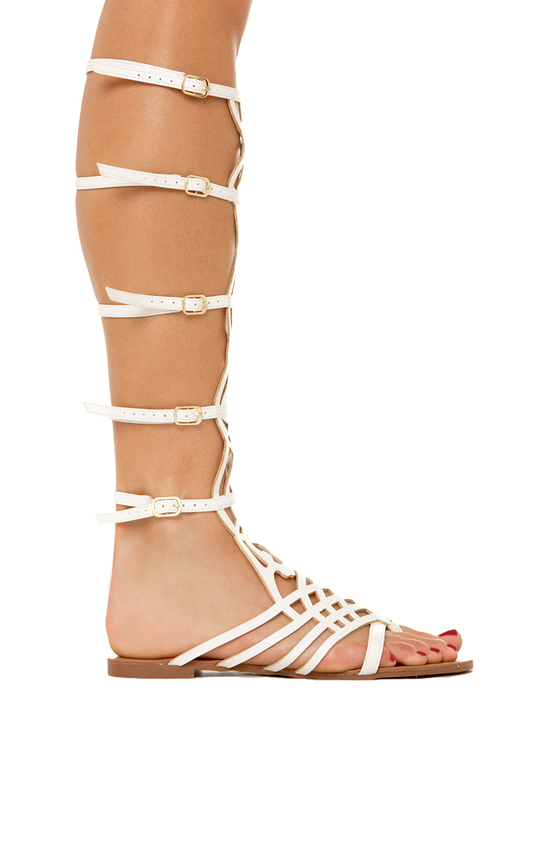 Lyst Akira Caged Tall Gladiator Sandal In White In White