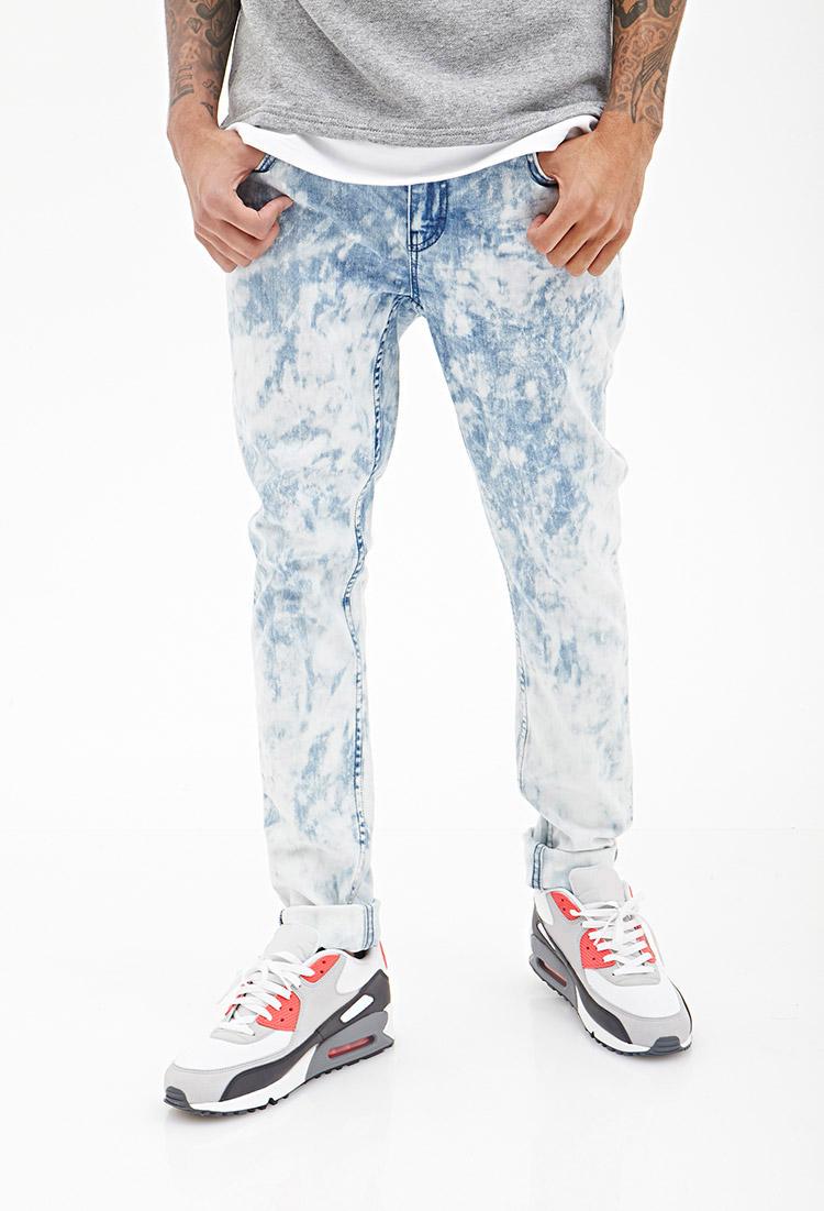 Forever 21 Stonewash Skinny Jeans In Denim Washed Blue