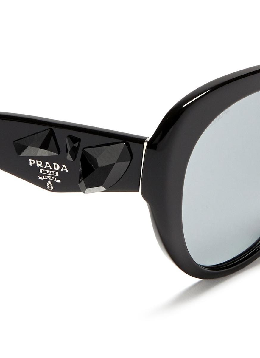 8633c7f8e076 ... low price lyst prada crystal temple oval sunglasses in black 5c5fe 7e93b