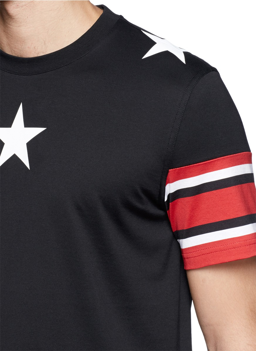 Lyst givenchy star stripe print t shirt in red for men for Givenchy 5 star shirt