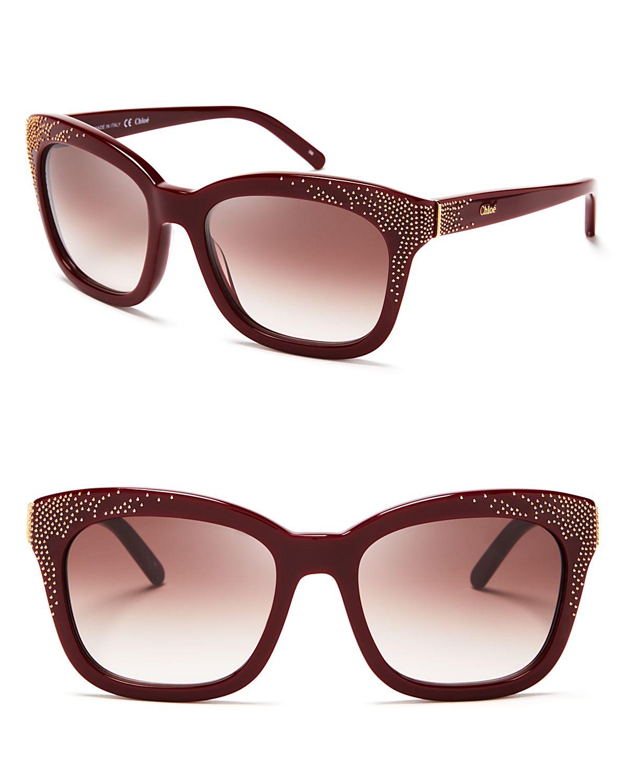 d3e406afc3 Lyst - Chloé Suzanna Studded Wayfarer Sunglasses in Brown