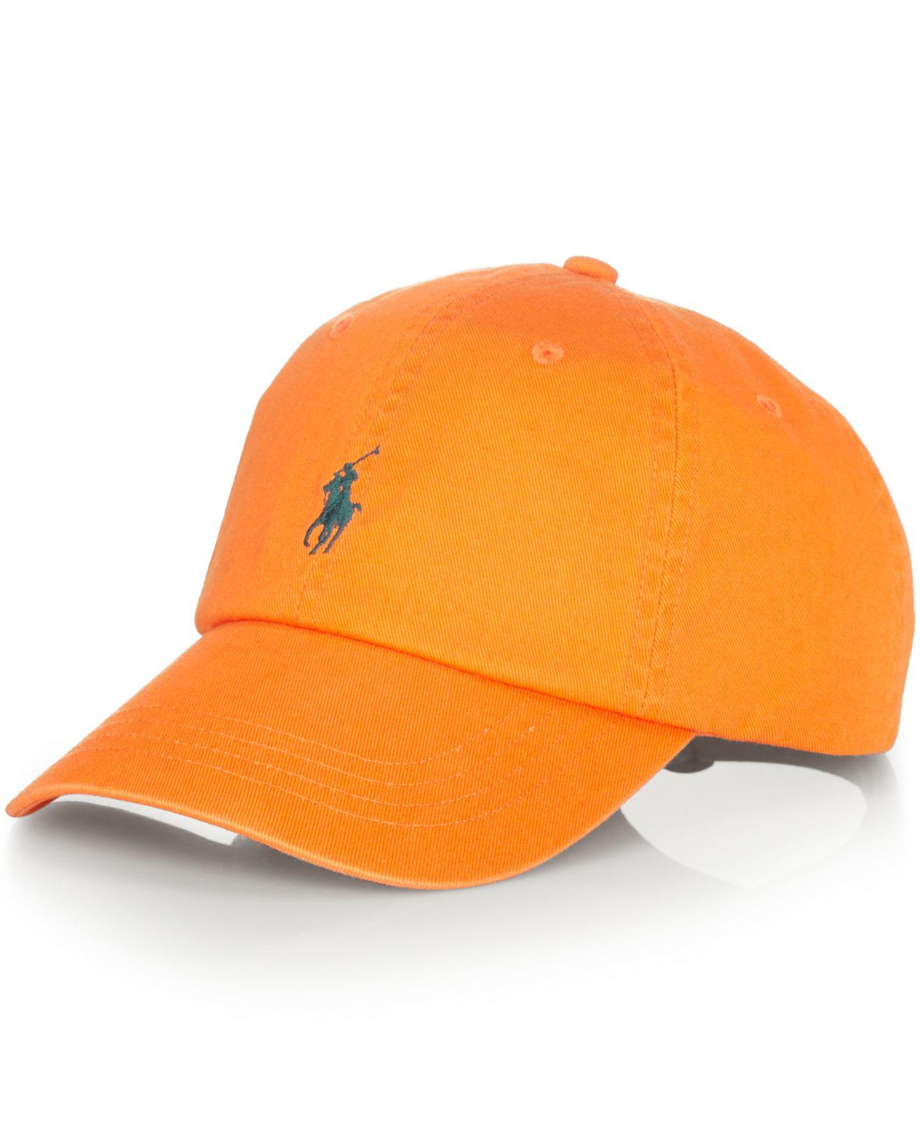 polo ralph lauren classic chino sports cap in orange for. Black Bedroom Furniture Sets. Home Design Ideas