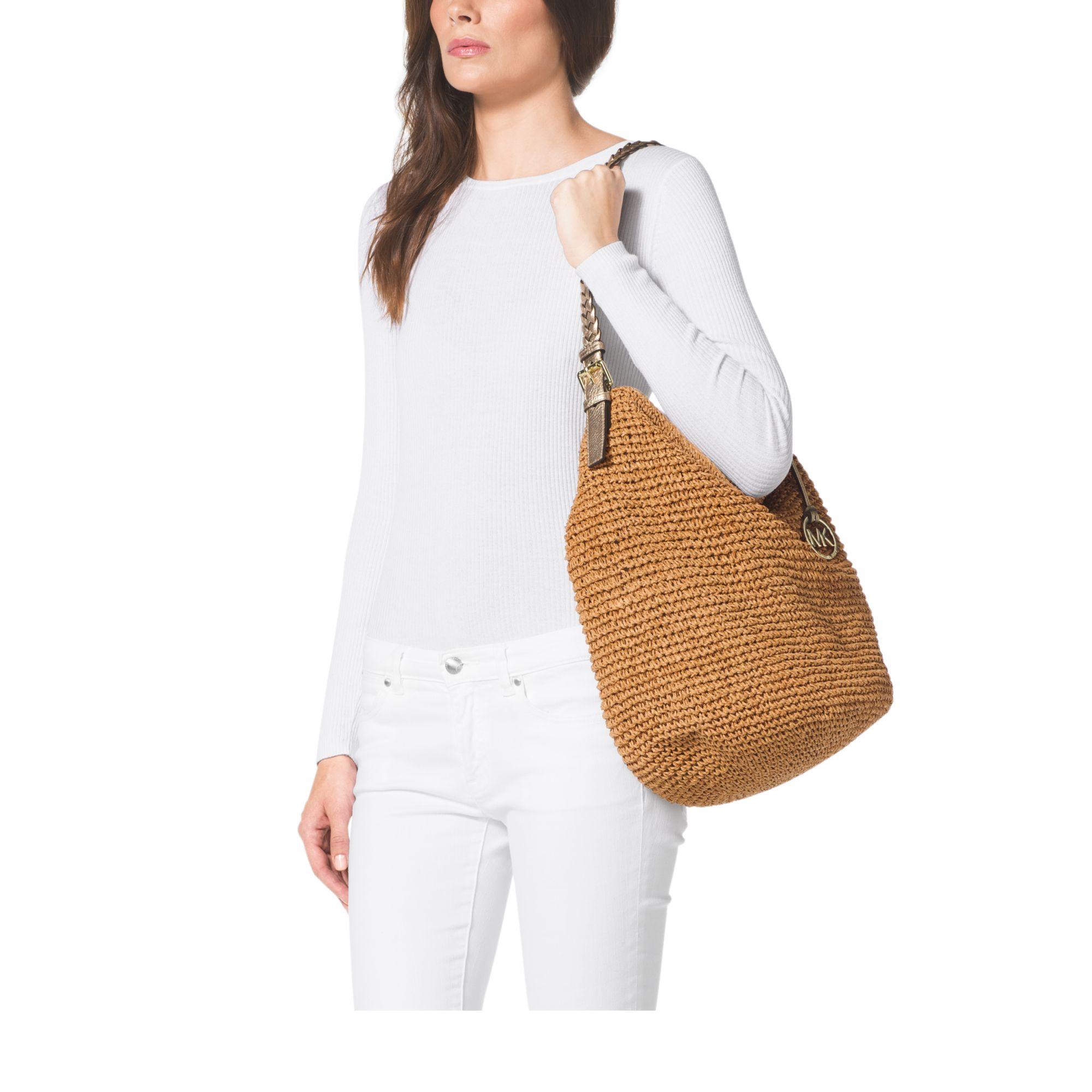 92b3fb4aa5e7 ... cheapest lyst michael kors lola large raffia shoulder bag in brown  b3258 0b0b1