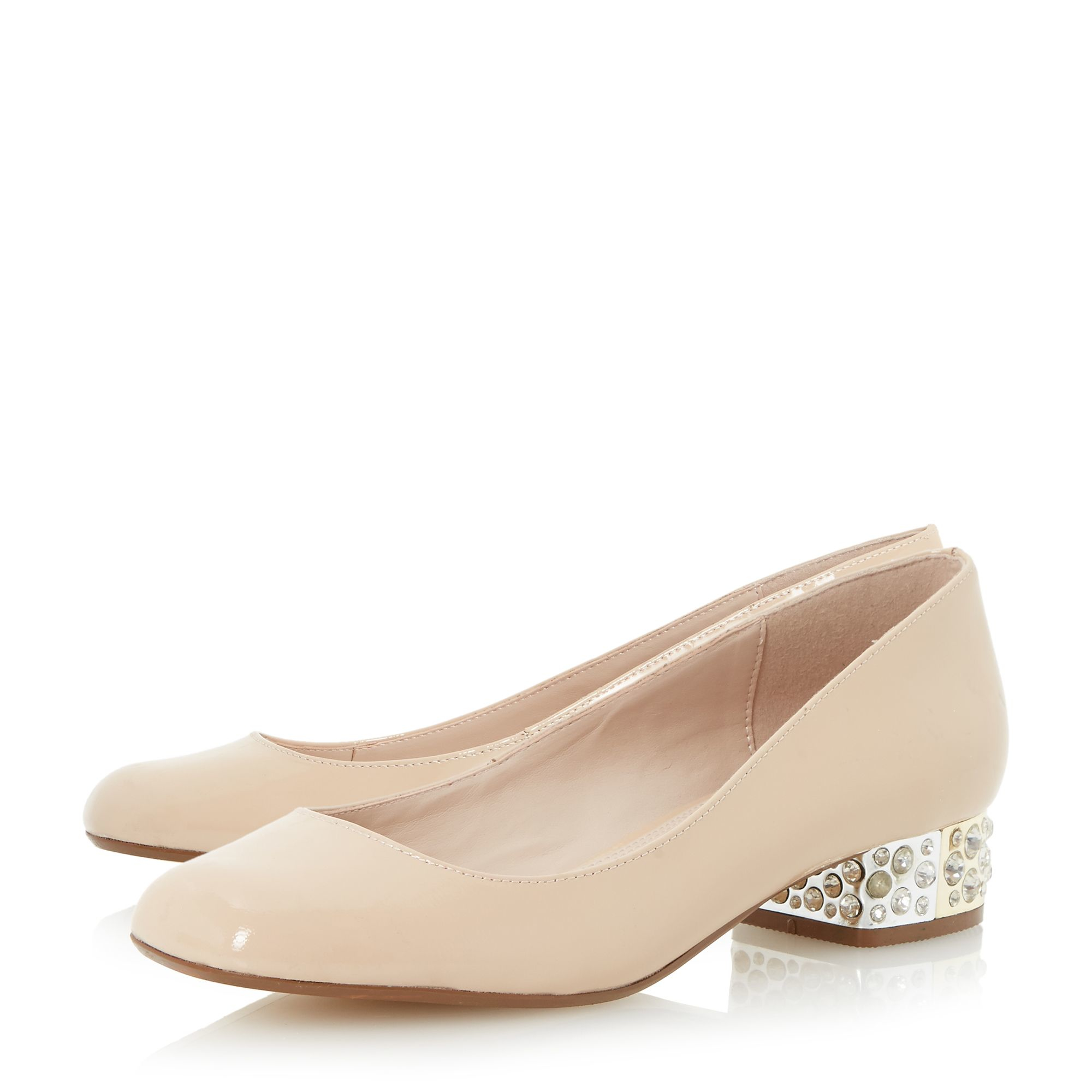 dune bijouxx jewelled block heel court shoes in pink lyst