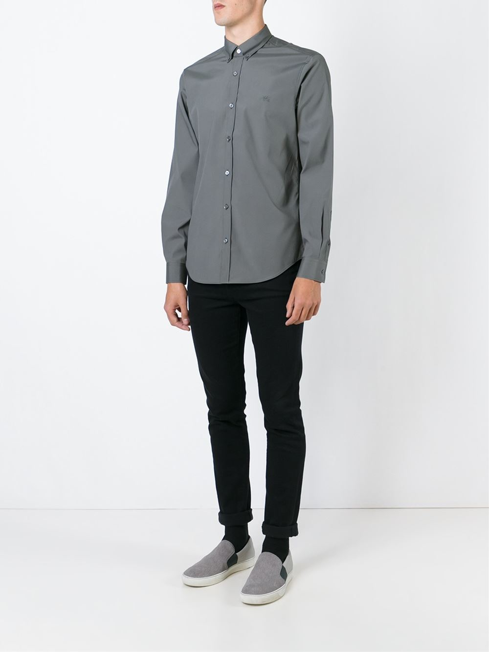 Burberry Brit Cotton Classic Button Down Shirt In Gray For