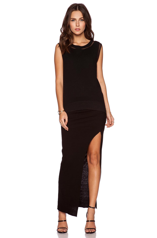 pam gela slit maxi skirt in black lyst