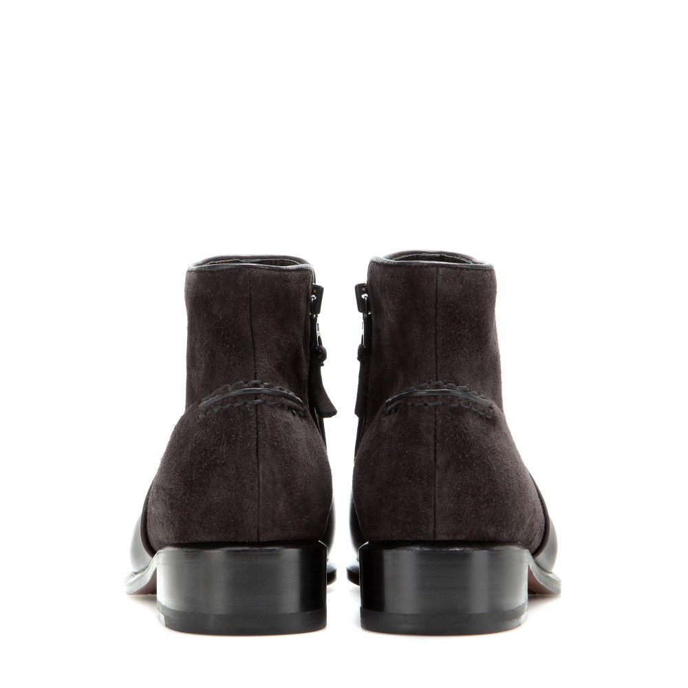 Rag & Bone Aston Leather And Suede Ankle Boots In Asphalt