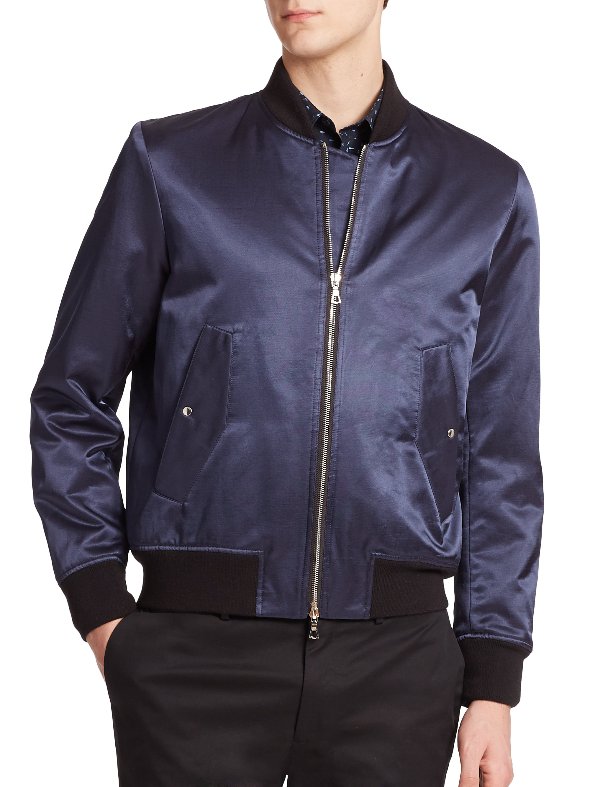 119c14b5fa6f9 Paul In Men Blue Lyst Satin Jacket Smith By Ps Bomber For 0qOxAOfEw
